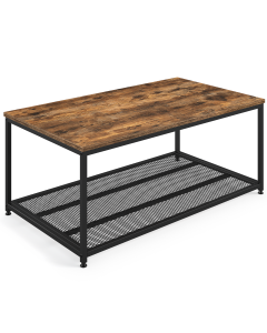 IndustrialCoffeeTable with Storage Shelf, Brown