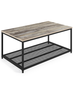 Industrial Coffee Table with Storage Shelf, Gray